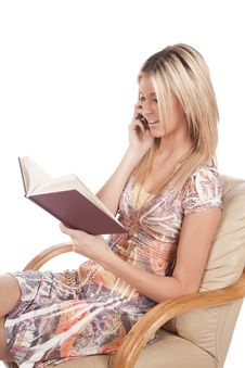 Free Woman On Phone And Reading Stock Images - 17826794
