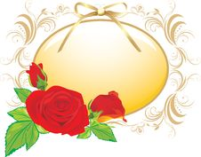 Free Three Red Roses And The Decorative Frame With Bow Stock Photography - 17827002