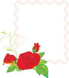 Free Three Red Roses With Ornament In The Frame Stock Image - 17827051