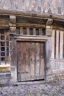 Antique Door. Honfleur. Stock Photo