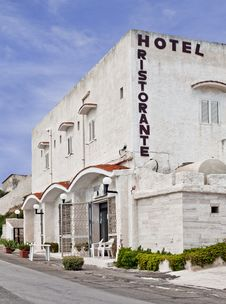 A Typical Little Hotel With Restaurant Royalty Free Stock Images