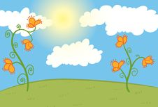 Free Field With Orange Flowers, Blue Sky With Clouds Royalty Free Stock Photos - 17828128