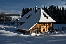 Block House In A Winter Landscape Royalty Free Stock Photo
