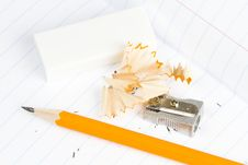 Free Sharpened Wooden Pencil, Sharpener And Eraser Stock Image - 17829201