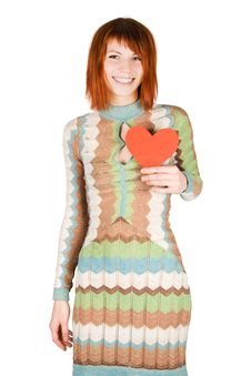Free Woman Standing And Holding Red Heart Royalty Free Stock Photography - 17829337