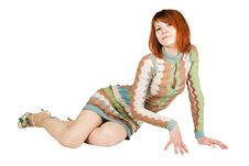 Free Redhead Woman In Fashion Dress Sitting On Floor Stock Photos - 17829343