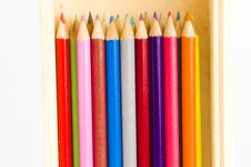 Coloring Pencils In A Wooden Pencil Box Royalty Free Stock Photography