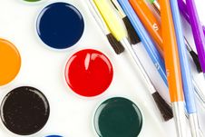 Free Watercolor Hobby Paint And Brushes Royalty Free Stock Photo - 17829655
