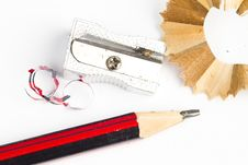 Free Sharpened Wooden Pencil, Sharpener And Eraser Stock Images - 17829694