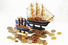 Free Model Ships And Coins Stock Image - 17829971