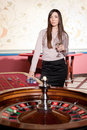 Free Beautiful Young Lady Stay Near Roulette Table Stock Images - 17830864