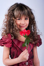 Free Beautiful Little Girl With Red Rose Royalty Free Stock Images - 17838949