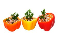 Sweet Yellow Peppers Stuffed With Minced Meat Stock Images