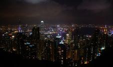 Lights From Victoria Harbor, Hong Kong Stock Photo