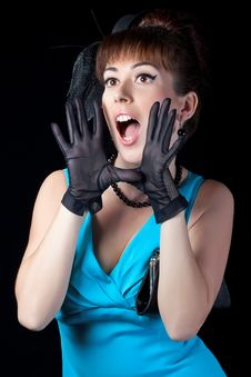 Free Portrait Of A Beautiful Retro Girl Shouting Royalty Free Stock Images - 17831609
