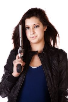 Free Close Up Of Woman With Pistol Stock Photo - 17831650