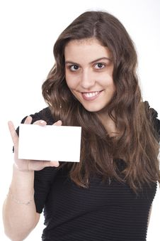 Free Woman Holds An Empty Card Royalty Free Stock Image - 17831846