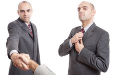 Free Man Shaking Hand And Straighten His Tie Royalty Free Stock Photos - 17831848