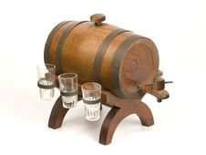 Antique Little Barrel And Glasses Royalty Free Stock Photography