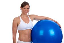 Free Fit Young Caucasian Woman With Exercise Ball Stock Images - 17832364