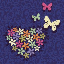 Free Postcard With Heart And Butterfles Royalty Free Stock Photography - 17832657
