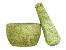 Free Stone Pestle And Mortar Isolated Royalty Free Stock Photo - 17833815