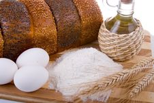 Free Fresh Bread,  Eggs,  Flour  And  Oil Stock Photography - 17834462