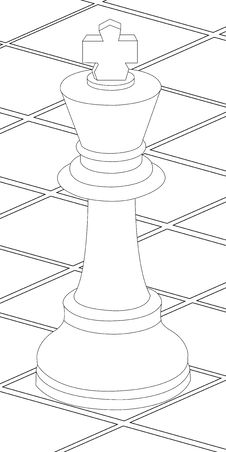 Chess Table And King Coloring Page