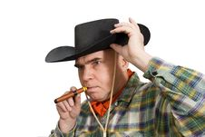 Man In A Cowboy Hat Stock Photos