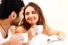 Free Young Couple Having Breakfast In Bed Stock Images - 17836444