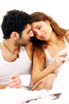 Free Young Couple Having Breakfast In Bed Stock Photography - 17836462