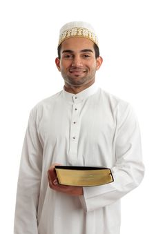 Man Holding A Book And Smiling Stock Photo