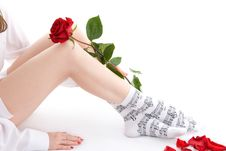 Free Girl Sitting With Rose Royalty Free Stock Photography - 17837587