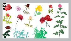 Free Roses Silhouettes Set Royalty Free Stock Image - 17837646