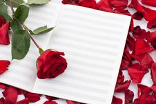 Free Red Rose On The Note Sheet Royalty Free Stock Photography - 17837647