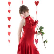 Free Girl In Red Dress Royalty Free Stock Photography - 17837657