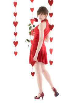Free Girl In Red Dress Royalty Free Stock Image - 17837666