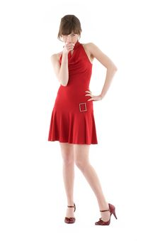 Free Girl In Red Dress Stock Photo - 17837670