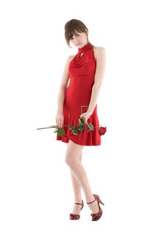 Free Girl In Red Dress Stock Images - 17837674