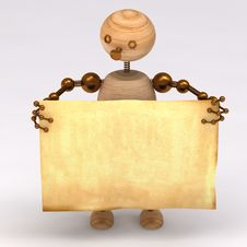 Free Wood Man Holding A Blank Board Royalty Free Stock Photo - 17839055