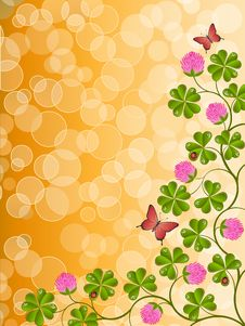 Free Floral Background With A Clover Royalty Free Stock Image - 17839156