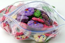 Assorted Spritz Cookies In A Zip Bag Stock Image
