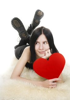 Free Positive Young Female In Love Royalty Free Stock Image - 17839506