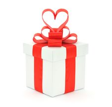 Free Gift Box, Bow And Heart Stock Photo - 17839560