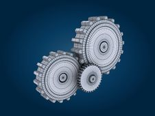 Free Gears On Blue Background Royalty Free Stock Photo - 17839695