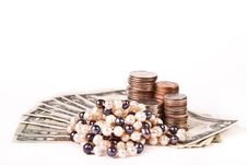 Free Perl Jewellery With Dollars And Cents Stock Photography - 17841292
