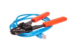 Network Crimp Tool With Network Ethernet Cable Stock Photo
