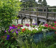 Free Flower Trough By A Wooden Footbridge Royalty Free Stock Photos - 17842398