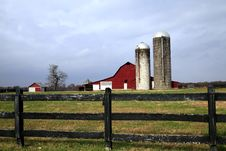 Red Barn And Silo Stock Photos