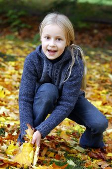 Free Girl In The Autumn Park Stock Photos - 17844853